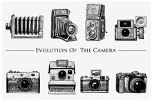 Evolution Of The Photo, Video, Film, Movie Camera From First Till Now Vintage, Engraved Hand Drawn In Sketch Or Wood Cut Style, Old Looking Retro Lens, Isolated Vector Realistic Illustration