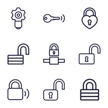 Set Of 9 Padlock Outline Icons
