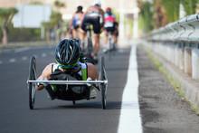 Wheelchair Race Cycling Race Triathlon Participant, Para Triathlete