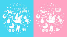 Set Of Hand Drawn Elements. Baby Stuff. Vector Cute Icons. It's A Boy And Girl