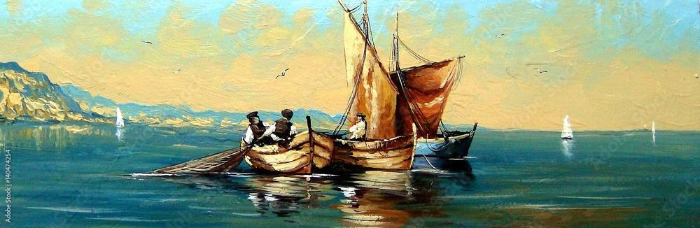 Fototapeta Fisherman, ships, boat, sea landscape, oil paintings