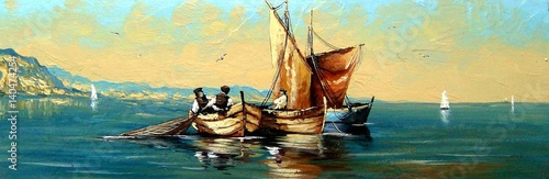 Foto op Canvas Groen blauw Fisherman, ships, boat, sea landscape, oil paintings