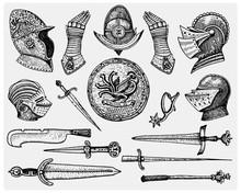 Big Set Medieval Symbols, Helm...