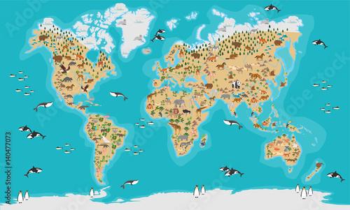 Staande foto Wereldkaart world map vector illustration