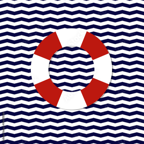 Abstract Lifebuoy Symbol On The Seamless Chevron Background Vector