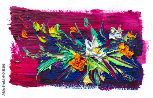 Deurstickers Paradijsvogel Oil painting flowers . Impressionist style.On a white background.