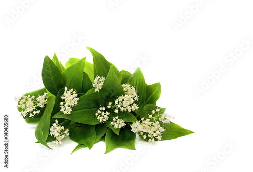 In de dag Lelietje van dalen Bouquet of flowers Maianthemum bifolium (false lily of the valley or May lily) on a white background with space for text.