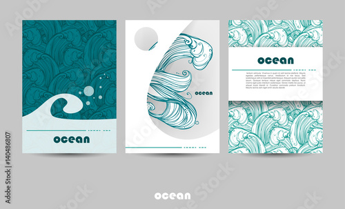 A4 Title Sheet Template. Background on the marine theme. Image of waves, sea, ocean. Menu design, invitations, covers, or your projects.