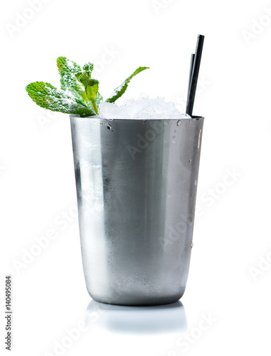 Valokuvatapetti Cocktail Mint julep isolated on white background