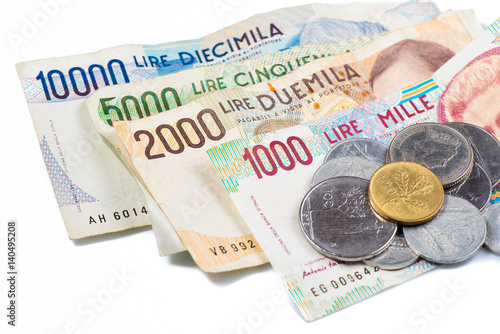 Banknotes from Italy. Italian lira and metal coins Wallpaper Mural