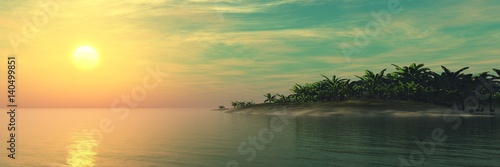 Beautiful sea sunset over a tropical island, light over a tropical beach, palm trees above the water