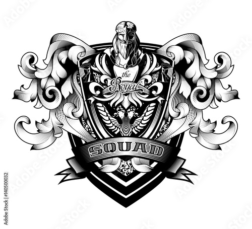 "Photographie  Ornamental Baroque Heraldry Crest Coat Arms Premium Shield ""Royal Squad"""