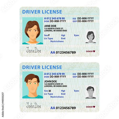 Cuadros en Lienzo  Vector man and woman driver license plastic card template