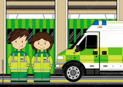 Cute Cartoon EMT Medic and Ambulance