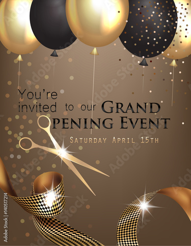 Grand Opening Invitation With Curly Ribbon Scissors And Gold And