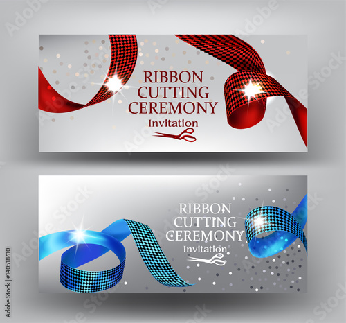 Ribbon Cutting Ceremony Invitation Banners With Curly Red And Blue