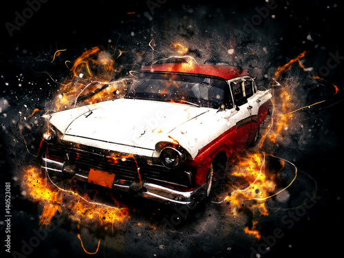 Photo Stands Motor sports Classic car in photo manipulation effect