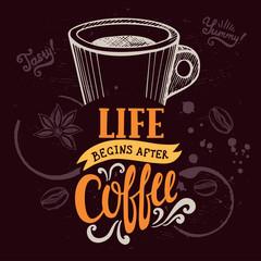 Fototapeta Kawa Coffee poster for restaurant and cafe.