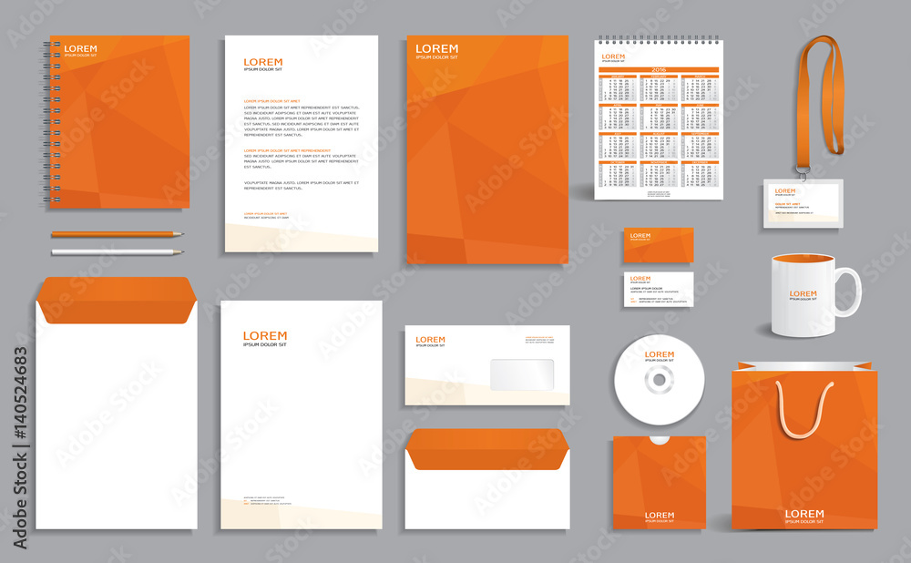 Fototapeta Business stationery set template, corporate identity design mock-up with orange polygonal pattern