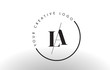LA Serif Letter Logo Design with Creative Intersected Cut.