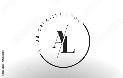 AL Serif Letter Logo Design with Creative Intersected Cut. Canvas Print