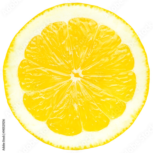 Juicy yellow slice of lemon, white background, isolated