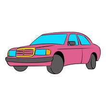 German Car Icon Cartoon