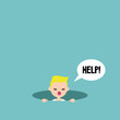 Young blond boy calling for help in the pit / editable flat vector illustration, clip art