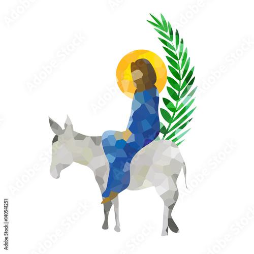 Canvas Print Palm Sunday - The Triumphal Entry of Jesus into Jerusalem on a donkey with palm leaves