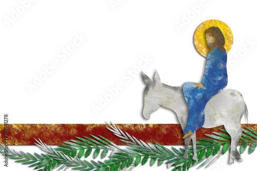 Palm Sunday - The Triumphal Entry of Jesus into Jerusalem on a donkey with palm leaves Wallpaper Mural