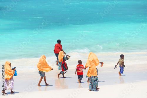Poster Zanzibar Kids going to school in Zanzibar