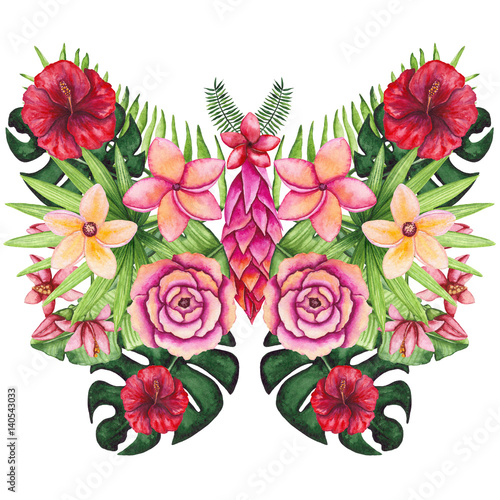 Butterfly and Watercolor Flowers and Palm Leaves