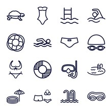 Set Of 16 Swim Outline Icons