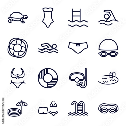 Fotografía  Set of 16 swim outline icons