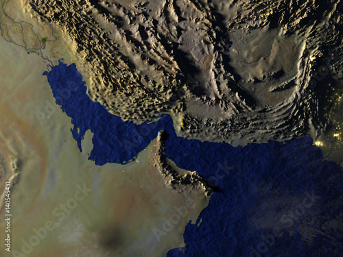 Fényképezés  Persian Gulf on realistic model of Earth