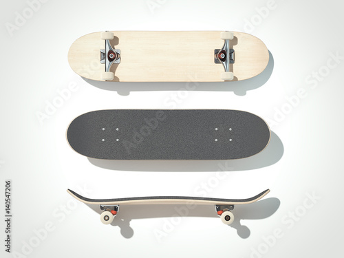 Skateboard isolated on a white background. 3d render