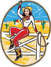 Retro Western Cowgirl Sitting ...