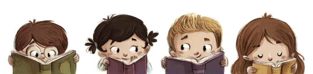 niños leyendo libros felices