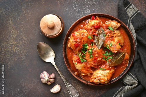 Fotografie, Obraz  Chakhokhbili - chiken stew with garlic and cilantro (parsley) in tomato sauce