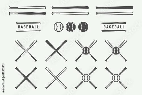 Vintage baseball logos, emblems, badges and design elements Canvas Print