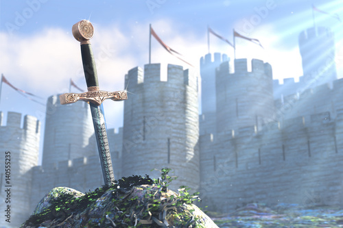 3D illustration of legend about sword in stone Canvas Print