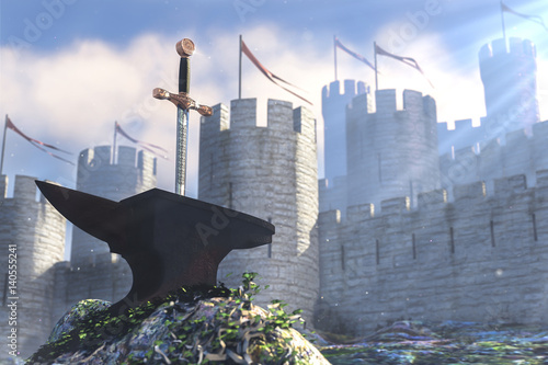 3D illustration of legend about king Arthur Wallpaper Mural