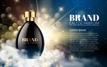Realistic Perfume Black Bottles On Shine Gold Blue Blurred Bokeh Background. Luxury Beautiful Smoke And Smell. Cosmetics Advertising, Gentle. Package Design Promotion Product. 3D Vector Illustration