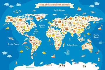 Fototapeta Map of the World with animals. Beautiful colorful vector illustration with the inscription of the oceans and continents. Preschool, for baby, children, kids and all people