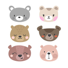 Set of cute bears. Funny doodle animals. Little bear in cartoon style