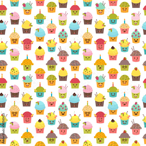 Seamless Pattern With Cupcakes And Muffins Kawaii Cute Cartoon Characters Emoji Birthday Background