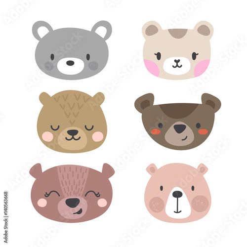 Set of cute bears Canvas Print
