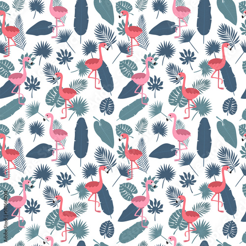 Cotton fabric Tropical seamless pattern with pink flamingos and palm leaves. Stylish background