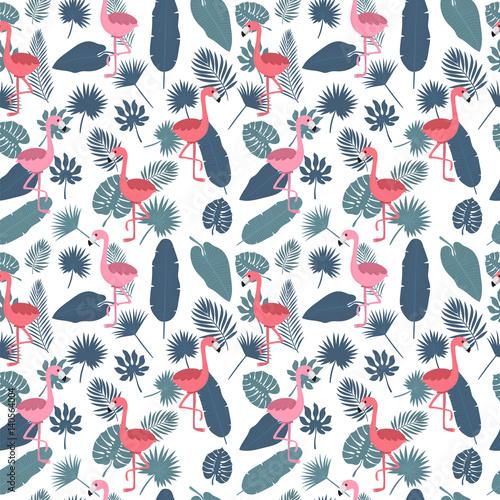 Materiał do szycia Pozostawia tropikalny wzór z różowe flamingi i palm. Stylowy tło