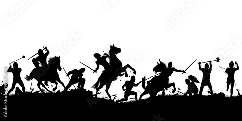 Obraz na plátne Battle scene silhouette